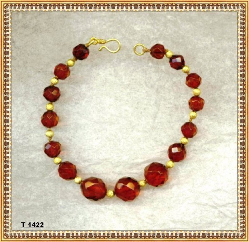 18K Gold Red Cherry Faceted Knotted Beads Bracelet