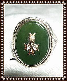 Vintage Unmarked Sterling Silver Arts Crafts Green Jade Ring