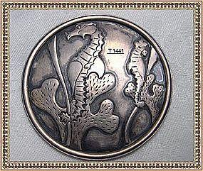 Mystery Mark Reward Vintage Arts Crafts Silver Pin Seahorse CW WC