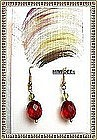 18K Gold Red Cherry Earrings Faceted Peridot