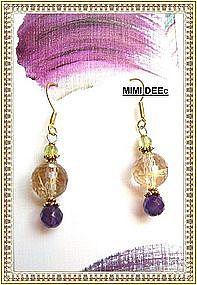 18K Gold Golden Rutilated Quartz Earrings Amethyst