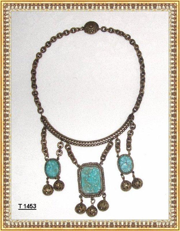 Vintage Art Deco Brass Festoon Necklace Pierced Glass