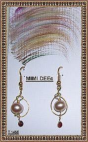 18K Gold Handmade Earrings Pink Peach Pearl Sapphires