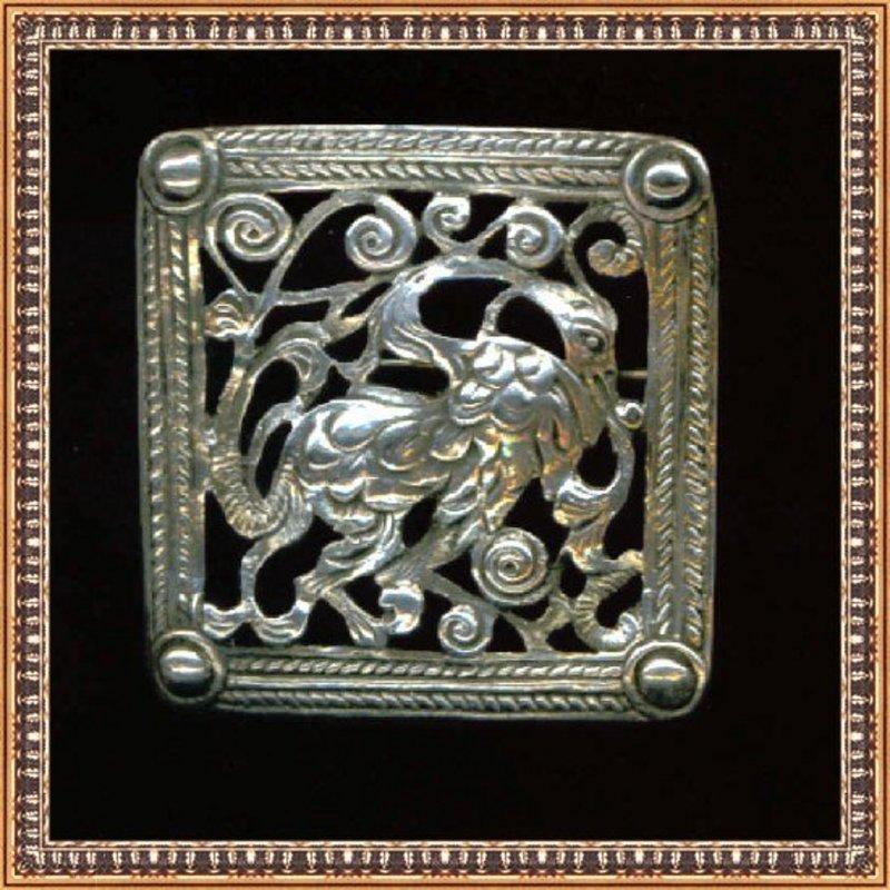 Vintage Boston Peruzzi Sterling Silver Dragon Pin Gino