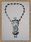 Vintage Sterling Silver Bold Taxco Mexico Inlay Necklace TC-14