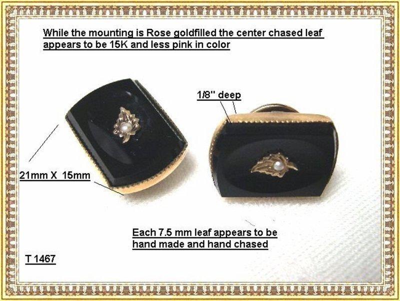 Vintage Antique Victorian Black Pearl Cuff Links Cufflinks GF
