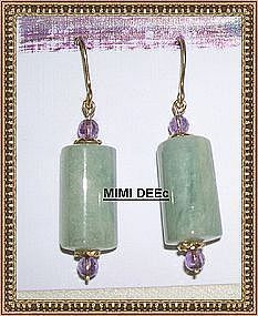 22K on Sterling Vermeil Aquamarine Amethyst Earrings