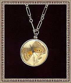 Vintage Butterfly Wing Pendant Necklace Sterling Silver