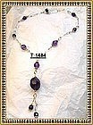 Signed Sterling Silver Amethyst Necklace Victorian Negligee Look