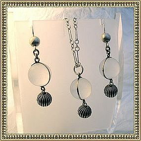Pools of Light Necklace Earring Set Art Deco Sterling