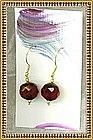 18K Gold Cherry Red Faceted Bead Earrings 14mm