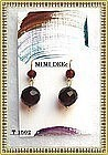 18K Gold Cherry Red Earrings Double Bead 13mm
