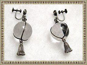 Vintage Pools of Light Earrings Deco Sterling Silver