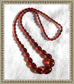 Antique Cherry Red Necklace Strand Faceted Barrel Clasp