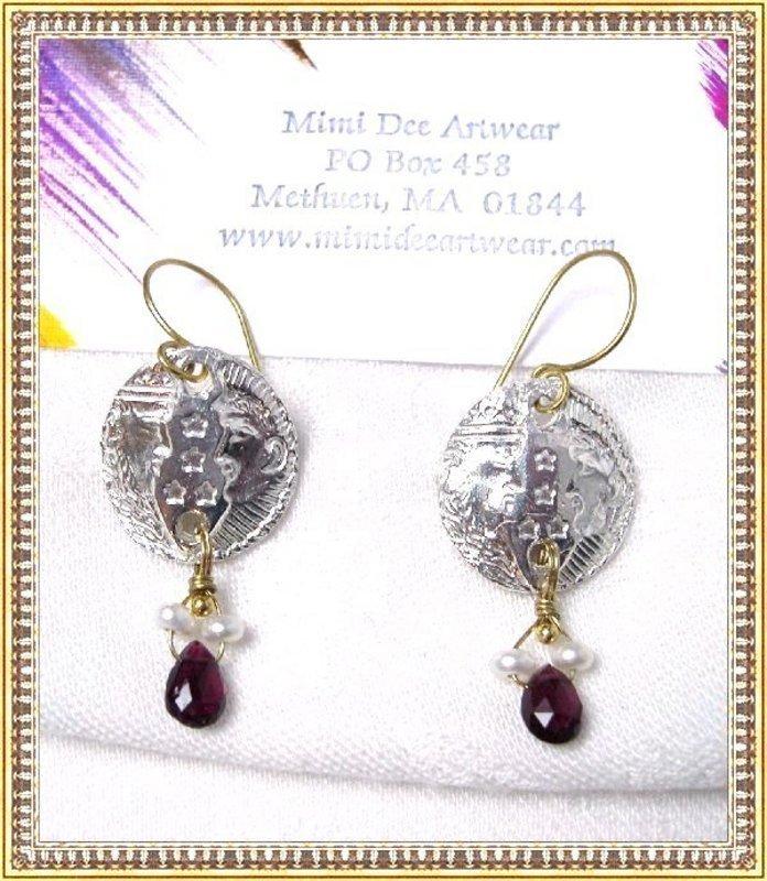 Signed Studio Earrings 18K GOLD Fine Silver Tourmaline