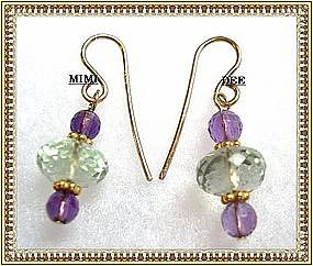 14K Gold Green & Plum Faceted Amethyst Earrings