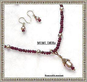 Ruby Gems Lavender Pink Pearl Strand Earring 3 pc Set