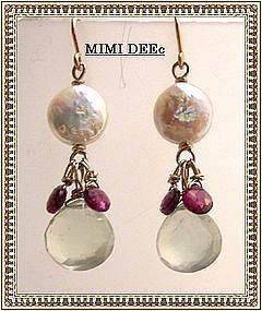 Signed 14K Coin Pearl Prehnite Rhodolite Earrings Gems