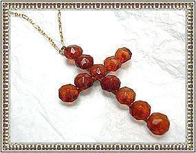 Victorian Carved Honey Amber Cross Necklace Gold Gilt