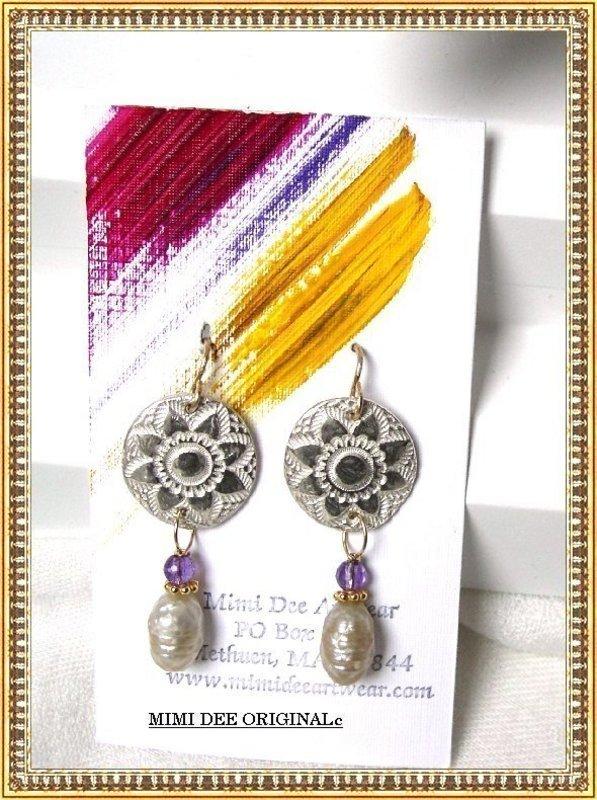 Artist Signed Mimi Dee Earrings 14K Pearl Amethyst Studio 99.9 Silver