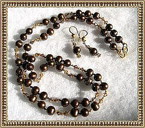 18K Gold Bronze Pearl Necklace Earring Set Knotted