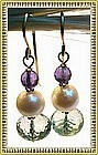 14K Gold Plum & Green Amethyst Akoya Pearl Earrings Bride