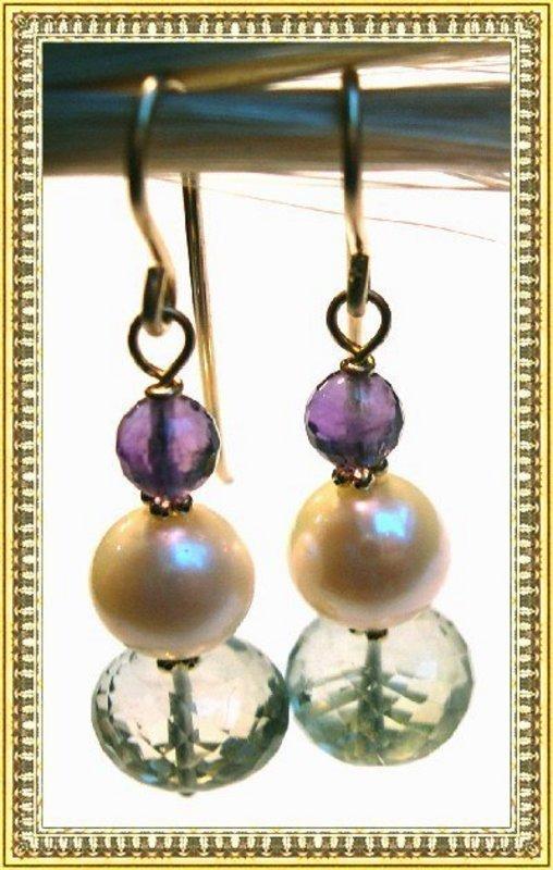 14K Gold Plum & Green Amethyst Akoya Pearl Earrings Bride