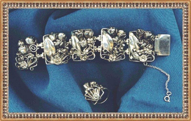 Vintage Signed Peruzzi Sterling Silver Bracelet Ring