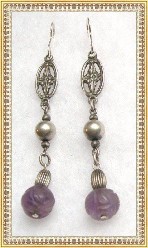 Vintage Sterling Silver Carved Amethyst or Jadeite Earrings