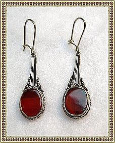 "Vintage Sterling Silver Carnelian Earrings ""Dendrite"""