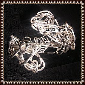 Signed Studio Sterling Silver Bracelet Cuff Sculpture