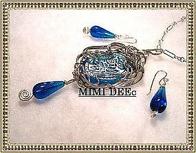 Signed MIMI DEE Sterling Etched Glass Necklace Set Box