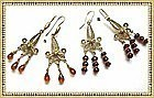 22K Gold Vermeil on Sterling Silver Garnet Earrings Duo Each