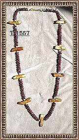 22K Gold Vermeil Red Garnet Necklace Strand Pearls