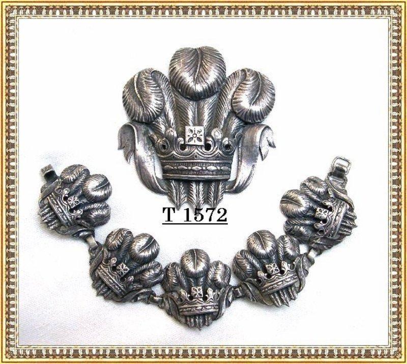 Vintage Early Sterling Silver G. Cini Bracelet & Brooch