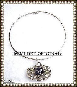 Signed Sterling Silver Necklace Amethyst Handwrought
