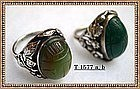Vintage Unmarked Nouveau Arts Crafts Sterling Silver Scarab Leaf Ring