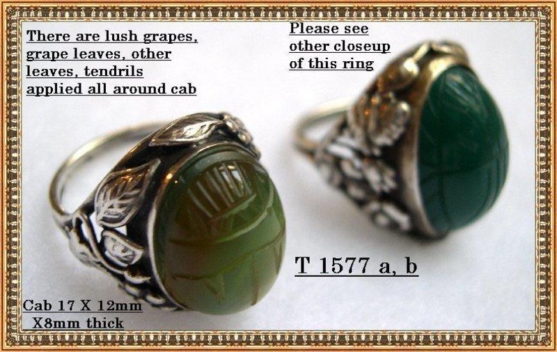 Vintage Unmarked Nouveau Arts Crafts Sterling Silver Scarab Leaf Ring