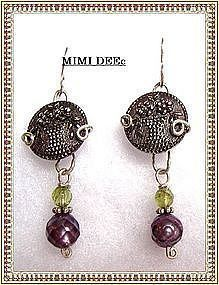 Signed Mimi Dee Sterling Earrings Victorian Silver Luster Button