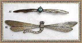 Vintage Art Nouveau Dragonfly Pin Duo Glass Scarab