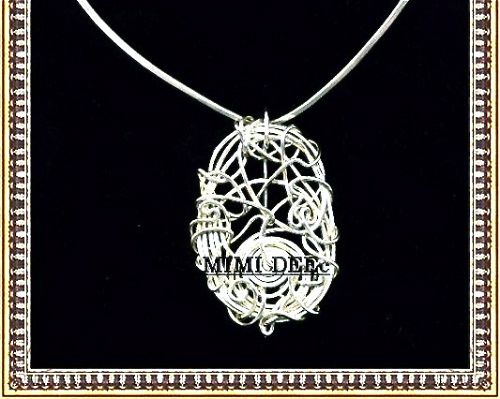 Signed Mimi Dee Studio Sterling Silver Sculpture Pin Necklace V Collar