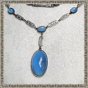 Vintage Art Deco Sterling Necklace Blue Glass Cabs