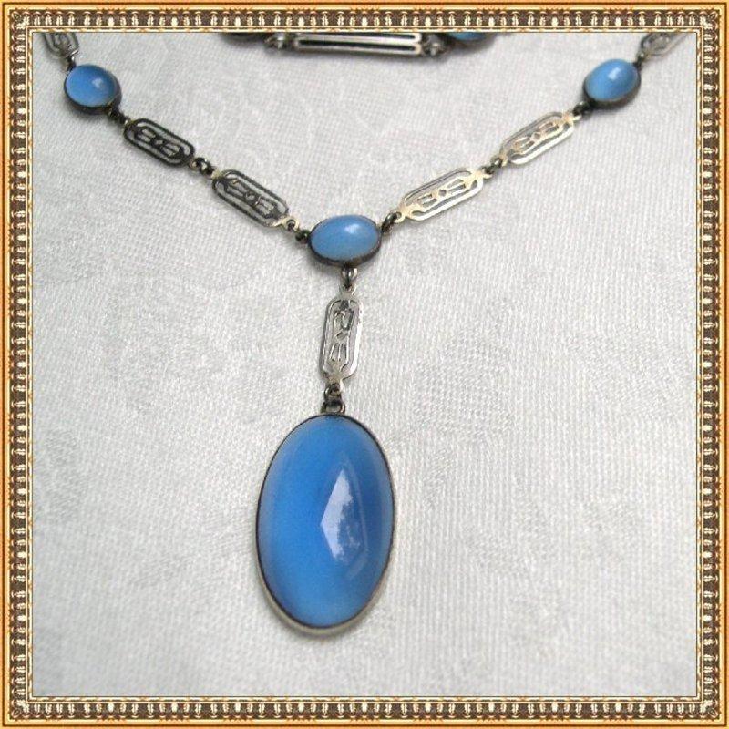 Vintage Art Deco Sterling Necklace Blue Glass Cabs