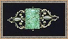 Vintage Signed Peruzzi Boston Sterling Pin Pierced Jadeite