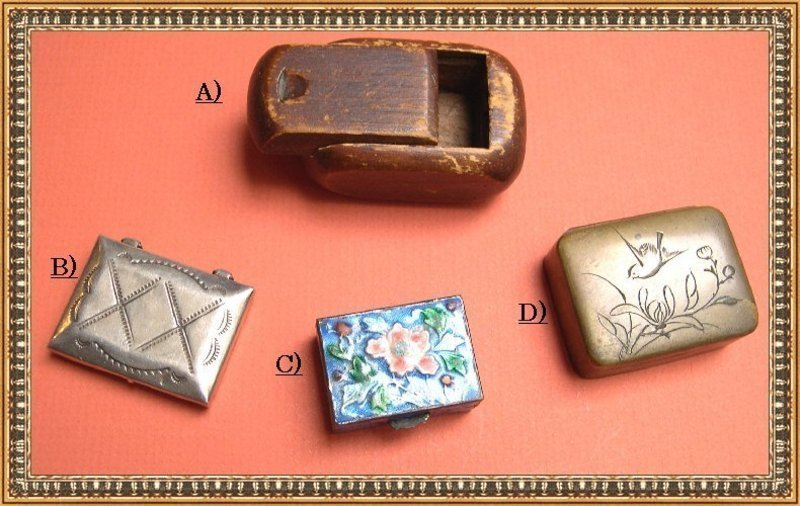 Vintage Stamp Pill Box Carved Wood Chinese Enamel