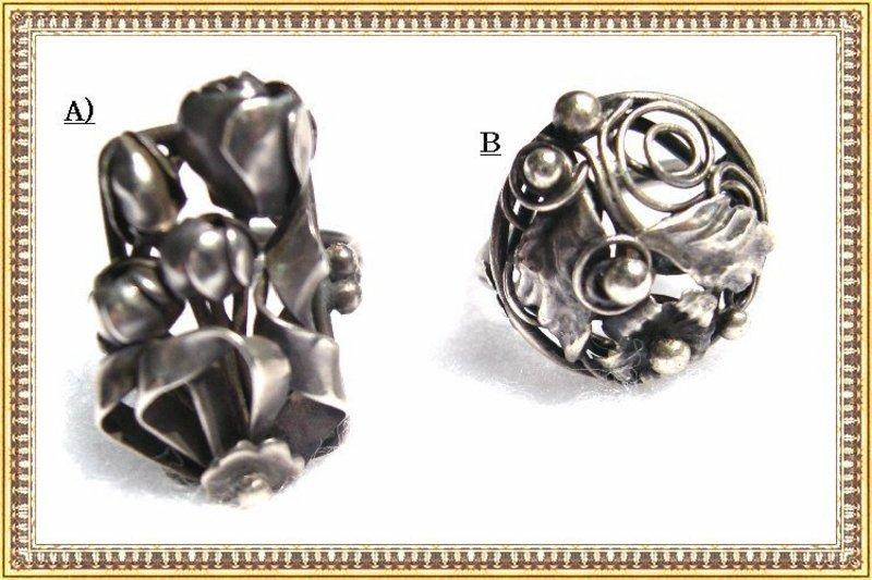 Vintage Sterling Art Deco Nouveau Arts Crafts Ring Lot