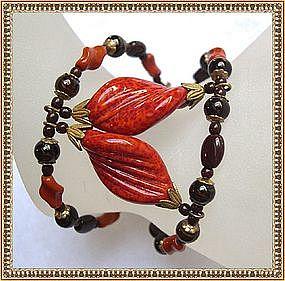 Vintage Miriam Haskell Bracelet Brown Rust Glass Beads