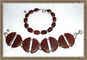 Vintage Silver Art Deco Bracelet Carnelian Germany Duo