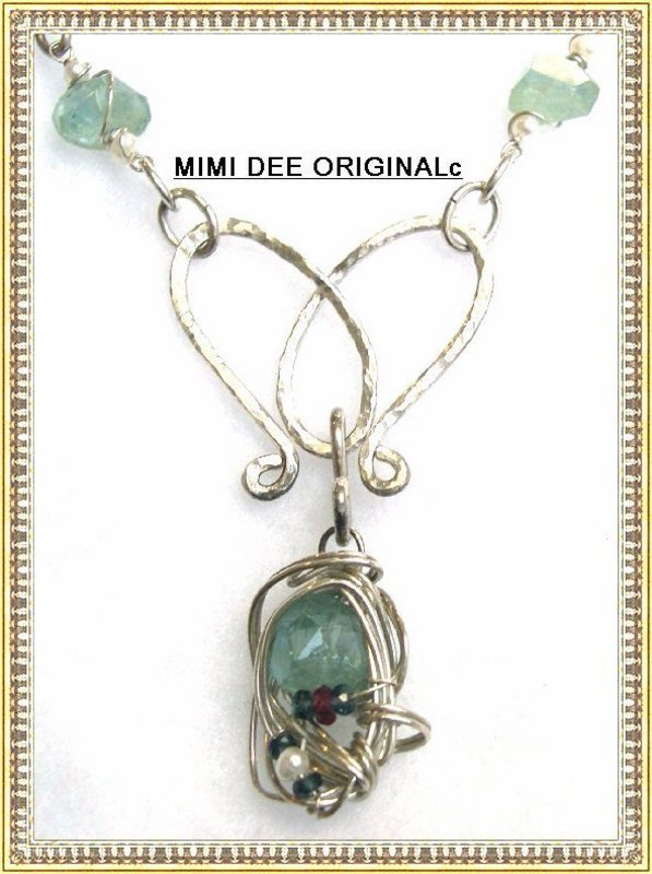 Signed Mimi Dee Sterling Aquamarine Necklace Sapphires Pearls