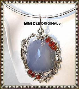 Signed Sterling Blue Chalcedony Pendant, Collar Optional